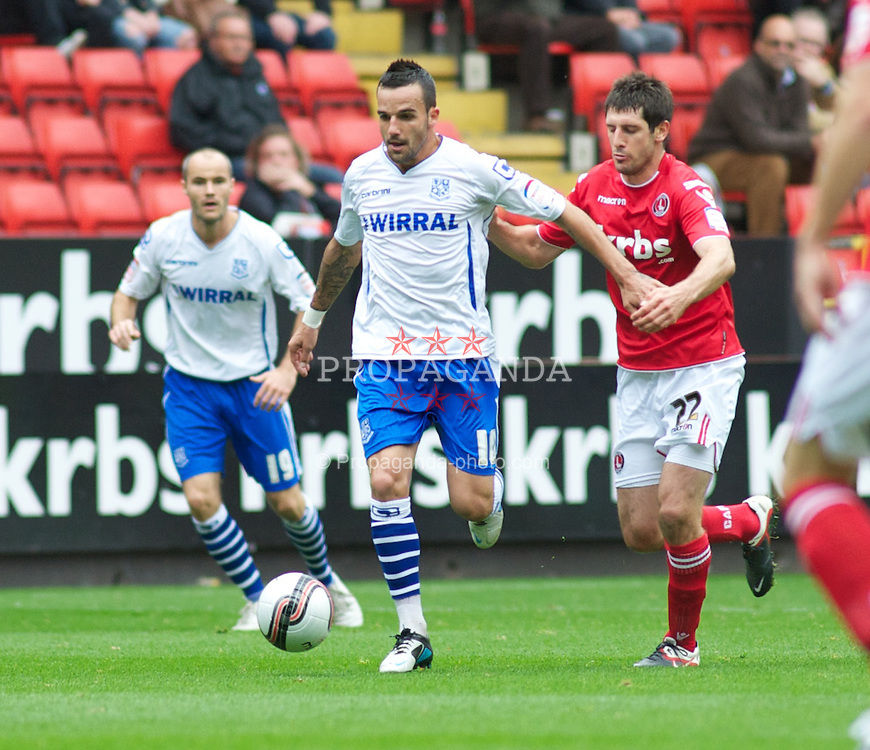 LONDON, ENGLAND - Saturday, October 8, 2011:  On the attack Tranmere Rovers' Robbie Weir in action against Charlton Athletic during the Football League One match at The Valley. (Pic by Gareth Davies/Propaganda)