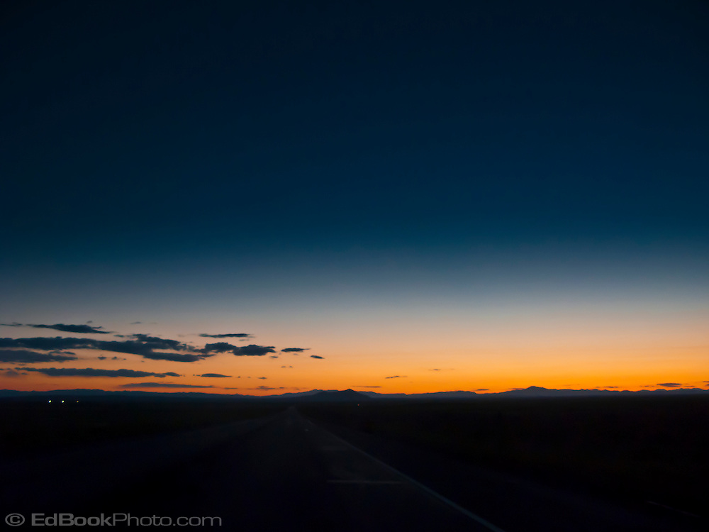sunset alpenglow along Interstate 70 on the San Rafael Swell of central Utah, USA