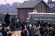 Striking miners jeer working miners leaving Silverwood pit during the 1984 miners strike.....