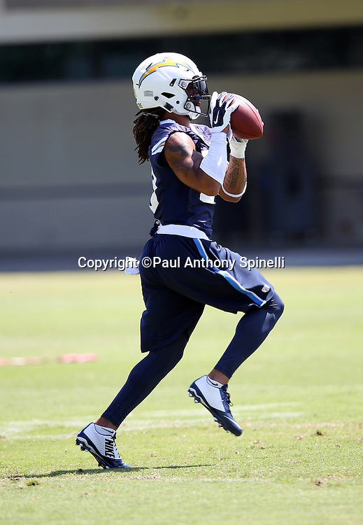 San Diego Chargers safety Dwight Lowery (20) catches a pass during the Chargers 2016 NFL minicamp football practice held on Tuesday, June 15, 2016 in San Diego. (©Paul Anthony Spinelli)