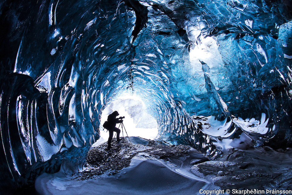 Ice cave in Vatnajökull ice cap, south Iceland