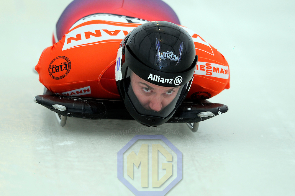14 December 2007:  Zachary Lund of the United States competes at the FIBT World Cup Men's skeleton competition on December 14, 2007 at the Olympic Sports Complex in Lake Placid, NY.  Lund placed third in the race won by Eric Bernotas of the United States.