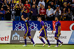 Marcos Morales Tavares #9 of NK Maribor with Jasmin Mesanovic #27 of NK Maribor and Marwan Kabha #8 of NK Maribor celebrate during 1st Leg football match between NK Maribor (SLO) and FH Hafnarfjordur (ISL) in Third qualifying round of UEFA Champions League 2017/18, July 26, 2017, in Stadium Ljudski vrt, Maribor, Slovenia. Photo by Grega Valancic / Sportida