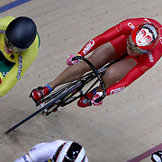 Track Cycling - Olympics: Day 8   Tianshi Zhong of China wearing the face figure on her helmet while competing in the Women's Keirin second round during the track cycling competition at the Rio Olympic Velodrome August 12, 2016 in Rio de Janeiro, Brazil. (Photo by Tim Clayton/Corbis via Getty Images)