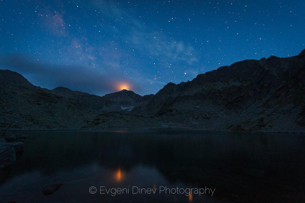 View to Musala peak at night
