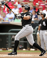 SURPRISE, AZ - MARCH 06:  Avisail Garcia #26 of the Chicago White Sox bats against the Kansas City Royals on March 6, 2014 at The Ballpark in Surprise in Surprise, Arizona. (Photo by Ron Vesely)   Subject: Avisail Garcia