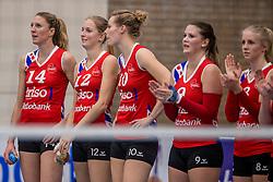 10-12-2016 NED: VC Sneek - Sliedrecht Sport, Sneek<br /> Sneek wint met 3-0 van Sliedrecht Sport / Quinta Steenbergen #14 of Sneek, Monique Volkers #12 of Sneek, Klaske Sikkes #10 of Sneek, Nienke Tromp #9 of Sneek
