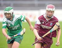 Emer Doherty, St Martin's(Wexford) is chased by Eileen Flannery Cahir(Tipp) in the Camoige Division1 final at Pearse Stadium during the Feile na Gael 2011. Photo:Andrew Downes