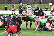Scrum practice for Edinburgh ahead of the Guinness Pro 14 2017_18 match between Edinburgh Rugby and Dragons Rugby at Myreside Stadium, Edinburgh, Scotland on 8 September 2017. Photo by Kevin Murray.