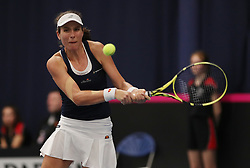 Great Britain's Johanna Konta in action against Hungary's Anna Bondar during day three of the Fed Cup at Bath University.