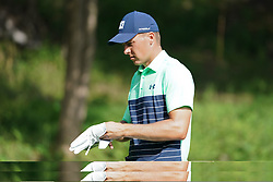 August 9, 2018 - St. Louis, Missouri, United States - Jordan Spieth changes gloves during the first round of the 100th PGA Championship at Bellerive Country Club. (Credit Image: © Debby Wong via ZUMA Wire)