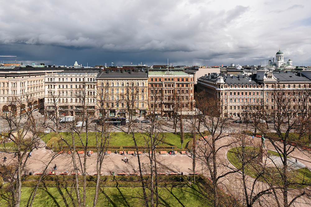 A view towards Esplanadi from Restaurant Savoy in Helsinki, Finland