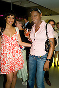 SARAH JANE CRAWFORD AND SONIQUE. The private view of exhibition 'The House of Viktor & Rolf', at The Barbican Gallery.  London.  June 17 2008. *** Local Caption *** -DO NOT ARCHIVE-© Copyright Photograph by Dafydd Jones. 248 Clapham Rd. London SW9 0PZ. Tel 0207 820 0771. www.dafjones.com.