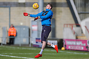 Forest Green Rovers goalkeeper Bradley Collins(1) warming up during the EFL Sky Bet League 2 match between Morecambe and Forest Green Rovers at the Globe Arena, Morecambe, England on 17 February 2018. Picture by Shane Healey.