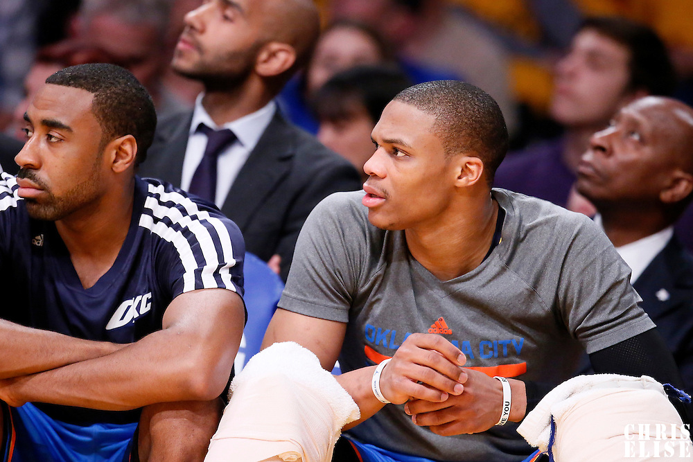 09 March 2014: Oklahoma City Thunder point guard Russell Westbrook (0) is seen on the bench during the Los Angeles Lakers 114-110 victory over the Oklahoma City Thunder at the Staples Center, Los Angeles, California, USA.