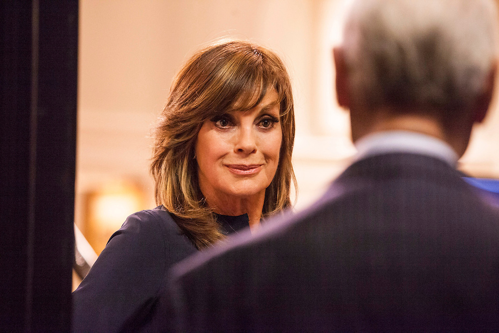 Linda Gray as Sue Ellen invites Larry Hagman as JR in for tea at her home in TNT's 'Dallas'.