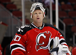 Oct 17, 2009; Newark, NJ, USA; New Jersey Devils goalie Martin Brodeur (30) before the first period of their game against the Carolina Hurricanes at the Prudential Center.