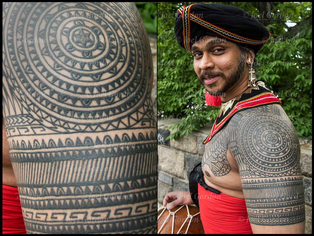 Sri Lankan Kandysan dancer with ethnic tattoos on his shoulder and right arm and chest.<br /> <br /> Body art or tattoos has entered the mainstream it is no longer considered a weird kind of subculture.<br /> <br /> &quot;According to a 2006 Pew survey, 40% of Americans between the ages of 26 and 40 have been tattooed&quot;.