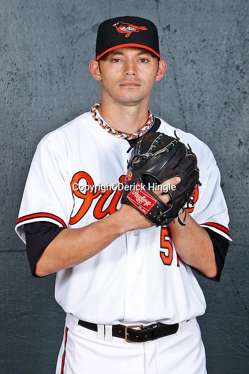February 26, 2011; Sarasota, FL, USA; Baltimore Orioles pitcher Clay Rapada (57) poses during photo day at Ed Smith Stadium.  Mandatory Credit: Derick E. Hingle