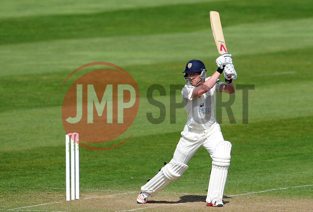 Durham's Paul Collingwood drives the ball- Photo mandatory by-line: Harry Trump/JMP - Mobile: 07966 386802 - 13/04/15 - SPORT - CRICKET - LVCC County Championship - Day 2 - Somerset v Durham - The County Ground, Taunton, England.
