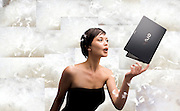 Woman with Sony Vaio and Feathers