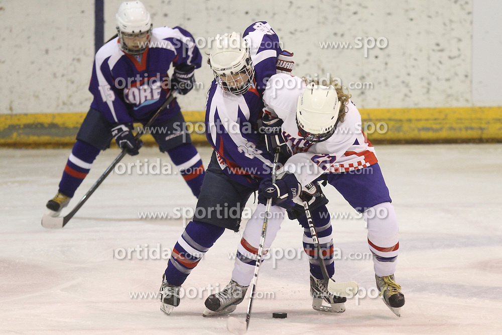 01.04.2013 Puigcerda, Spain. IIHF Ice Hockey Women's World Championship Div II Group B. Picture show Young Hwa Lee (L) and Anja KAdejevic in action during  Game between korea against Croatia
