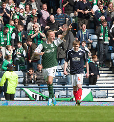 Hibernian's Leigh Griffiths cele scoring their second goal..Hibernian 4 v 3 Falkirk, William Hill Scottish Cup Semi Final, Hampden Park..©Michael Schofield..