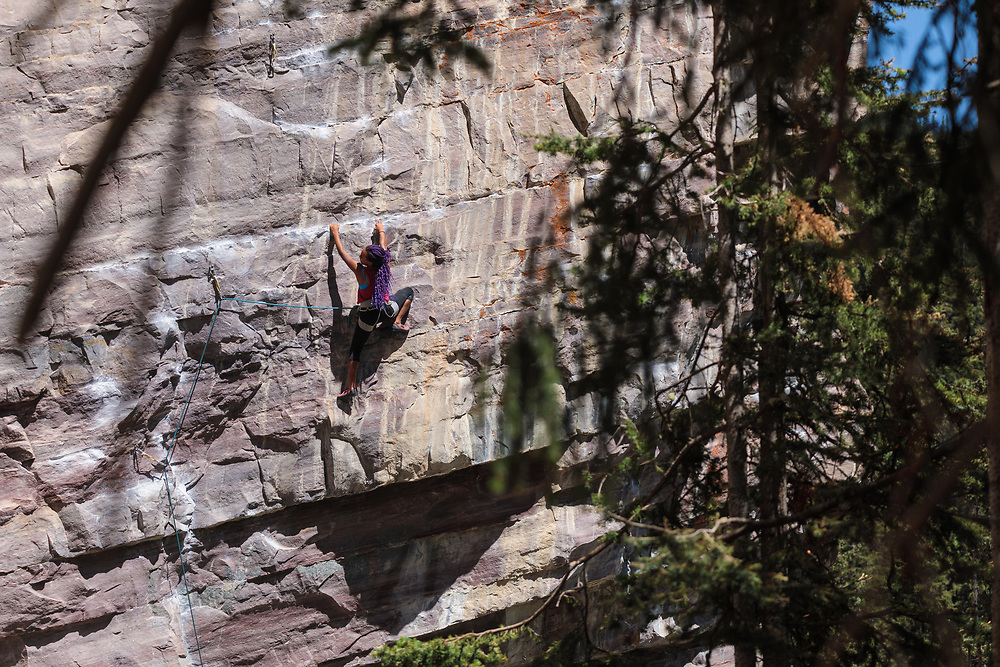 Courtney Blake climbing Wicked Gravity, 5.11a at Lake Louise, Alberta, Canada