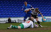 Photo: Matt Bright/Richard Lane Photography. <br />Stockport County v Darlington. Coca Cola Divison Two. 05/04/2008. keeper David Stockdale spills the ball at the feet of Neil Austin (R) and Anthony Pilkington (L)