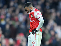 Football - 2019 / 2020 Premier League - Arsenal vs. Chelsea<br /> <br /> Alexandre Lacazette of Arsenal shows his despair after Chelsea's winning goal, at The Emirates.<br /> <br /> COLORSPORT/ANDREW COWIE