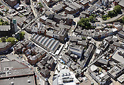aerial photograph of Stockport market Stockport Cheshire Greater Manchester England UK