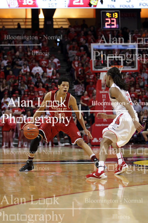 14 February 2016: Ronnie Suggs works the perimeter against Tony Wills(12) during the Illinois State Redbirds v Bradley Braves at Redbird Arena in Normal Illinois (Photo by Alan Look)