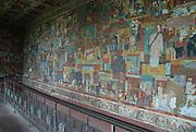 India, Delhi, Mahatma Gandhi Memorial at the site of his assassination in 1948, Wall paintings