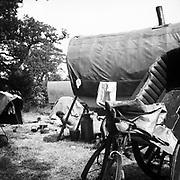 Horse-drawn camp at Glastonbury, 1989.