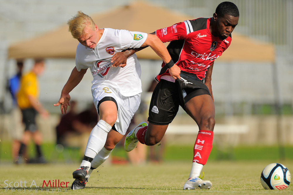 Orlando City midfielder Veneri Valimaa (8) in action during the Orlando City U23s 2-1 win over the Laredo Heat in their PDL Southern Conference Championships playoff game at Trinity Catholic High Schooll on July 20, 2012 in Ocala, Florida. ..©2012 Scott A. Miller