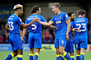 AFC Wimbledon defender Paul Robinson (6) celebrating after scoring goal to make it 1-0 with AFC Wimbledon striker Lyle Taylor (33) during the EFL Cup match between AFC Wimbledon and Brentford at the Cherry Red Records Stadium, Kingston, England on 8 August 2017. Photo by Matthew Redman.