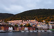 Dramatic light at sunset in the harbour in Bergen, Norway, Vestlandet, Europe