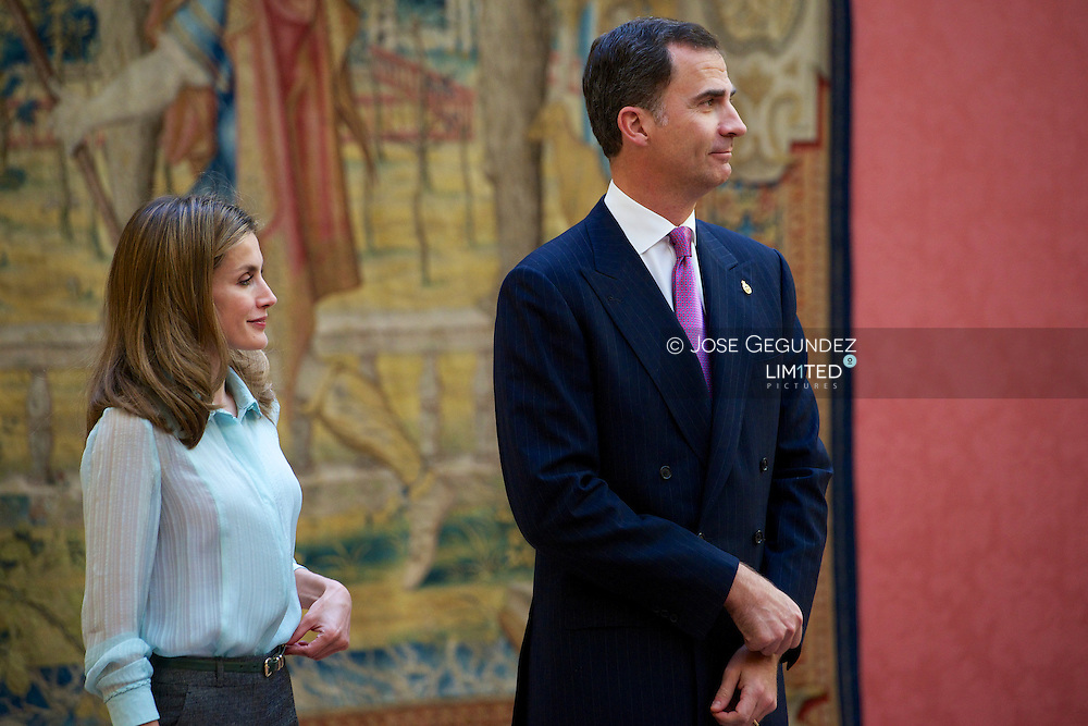 Prince Felipe of Spain and Princess Letizia of Spain receive members of 'Principe de Asturias' Foundation at El Pardo Palace in Madrid, Spain