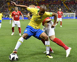 ROSTOV-ON-DON, June 17, 2018  Miranda (L) of Brazil vies with Haris Seferovic of Switzerland during a group E match between Brazil and Switzerland at the 2018 FIFA World Cup in Rostov-on-Don, Russia, June 17, 2018. (Credit Image: © Chen Yichen/Xinhua via ZUMA Wire)