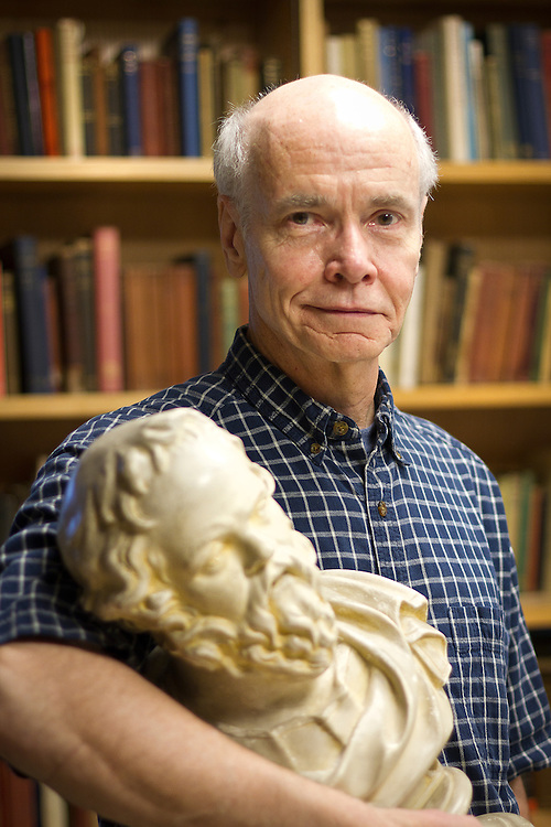 Professor of Classics Ed Phillips searches for Socratic wisdom while posing for a portrait in ARH. BEN BREWER/Grinnell College