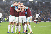 Burnley players celebrate an own goal by Fulham during the Premier League match between Burnley and Fulham at Turf Moor, Burnley, England on 12 January 2019.