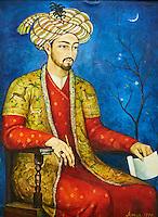 Ouzbekistan, Tashkent, place Tamerlan, Musée Tamerlan, portrait de Babur Mirzo // Uzbekistan, Tashkent, Tamerlan square, Tamerlan museum,  fresco, portrait of Babur Mirzo
