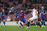 LIONEL MESSI of FC Barcelona duels for the ball with CLEMENT LENGLET of Sevilla FC during the Spanish championship Liga football match between FC Barcelona and Sevilla FC on April 5, 2017 at Camp Nou stadium in Barcelona, Spain. <br /> Photo Manuel Blondeau / AOP Press / ProSportsImages / DPPI