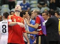 Fussball  International  FIFA  FUTSAL WM 2008   16.10.2008 Halbfinale Spain - Italy Spanien - Italien Trainer Alessandro NUCCORINI (li, ITA) und JAVI RODRIGUEZ (ESP) diskutieren nach Spielende