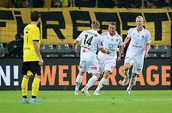 27.08.2015, Signal Iduna Park, Dortmund, GER, UEFA Euro Qualifikation, Borussia Dortmund vs Odd Grenland, Playoff, Rückspiel, im Bild v.l. Jonas Hofmann (Dortmund) steht enttaeuscht auf dem Platz, Fredrik Nordkvelle (Odds), Ole Joergen Halverson (Odds) und Vegard Bergan (Odds) jubeln nach dem Tor zum 0:1 durch Ole Joergen Halverson (Odds) // during UEFA Europa League Playoff 2nd Leg match between Borussia Dortmund and Odd Grenland at Signal Iduna Park in Dortmund, Germany on 2015/08/27. EXPA Pictures © 2015, PhotoCredit: EXPA/ Eibner-Pressefoto/ Hommes<br /> <br /> *****ATTENTION - OUT of GER*****