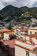 View of the village and mountains at Minori, on the Amalfi coast of Italy