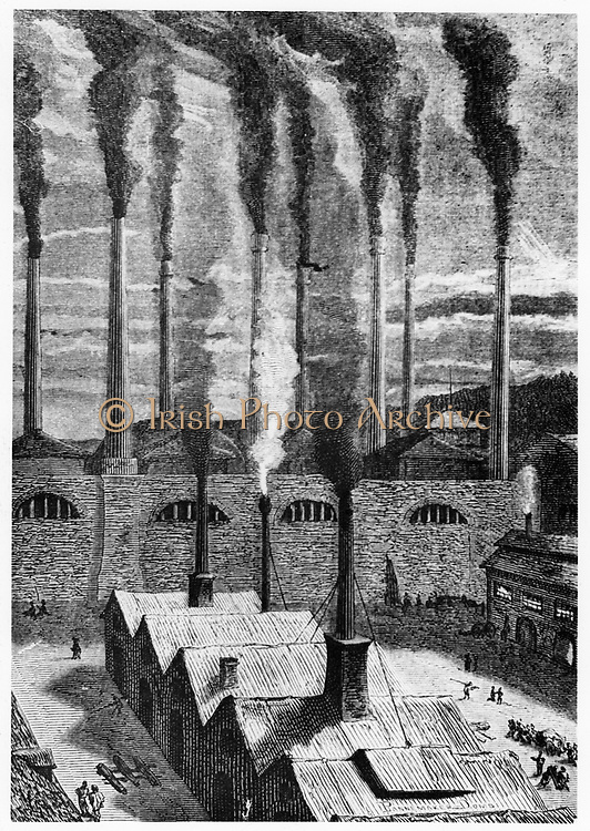 Goldspring ironworks near New York where the materials for the great gun for launching the space craft 'Columbiad' were produced.  From Jules Verne 'De la Terre a la Lune', Paris, 1865. Wood engraving.