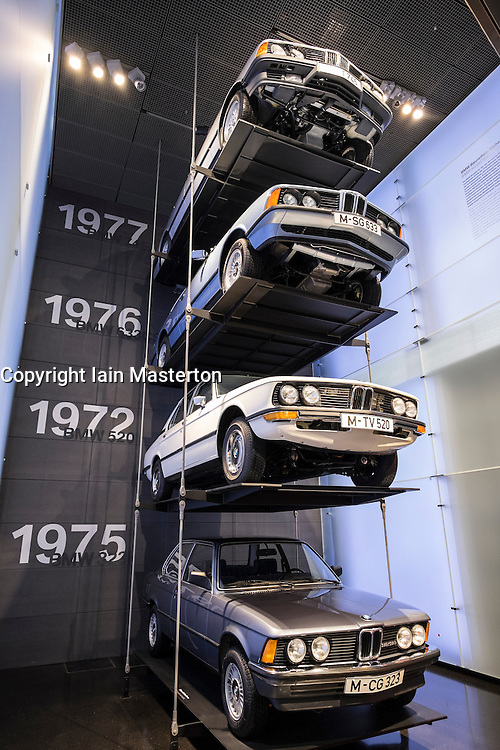 Display of BMW cars at BMW Museum in Munich Germany