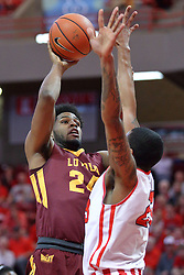 19 February 2017:  Deontae Hawkins(23) defendes Aundre Jackson during a College MVC (Missouri Valley conference) mens basketball game between the Loyola Ramblers and Illinois State Redbirds in  Redbird Arena, Normal IL