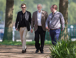 © Licensed to London News Pictures. 15/05/2016. London, UK.  Labour party leader Jeremy Corbyn (C) walks with his Executive Director of Strategy and Communications Seumas Milne (L) before appearing on ITV's Peston's Politics. Photo credit: Peter Macdiarmid/LNP